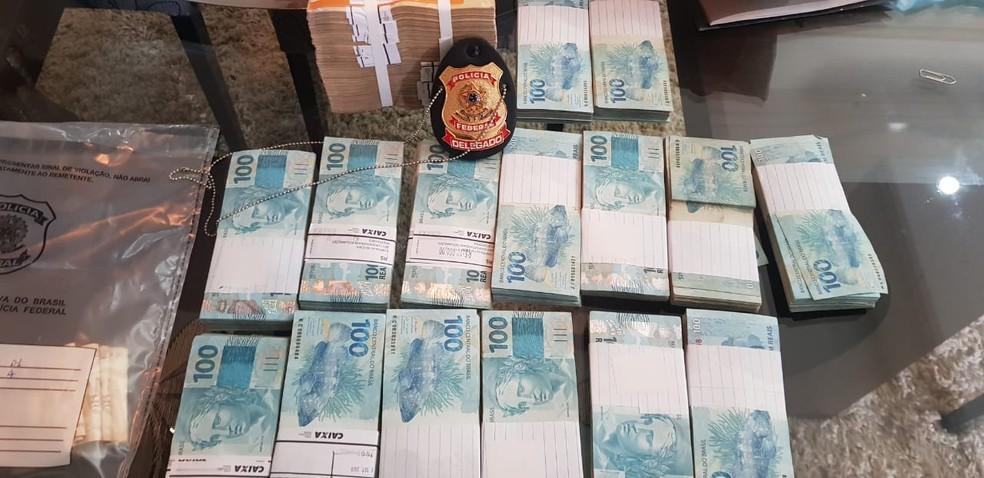Dinheiro apreendido durante Operação Reciclagem em RO — Foto: PF/Divulgação