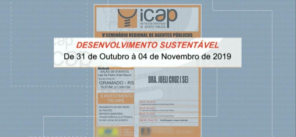 Panfleto mostra que o assunto da palestra seria diferente do que o presidente da Câmara de Vereadores de Santa Rita declarou — Foto: TV Cabo Branco/Reprodução