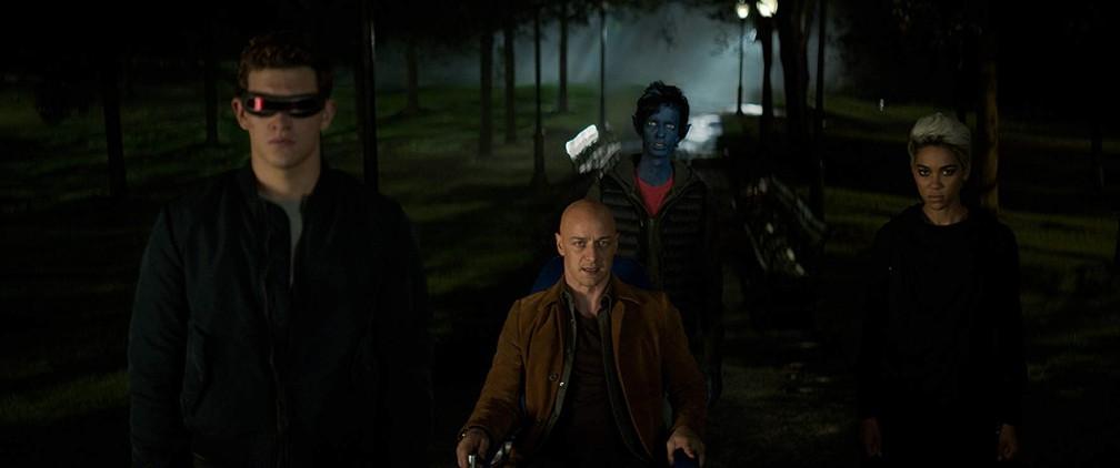 Tye Sheridan, James McAvoy, Kodi Smit-McPhee e Alexandra Shipp em cena de'X-Men: Fênix Negra' — Foto: Divulgação