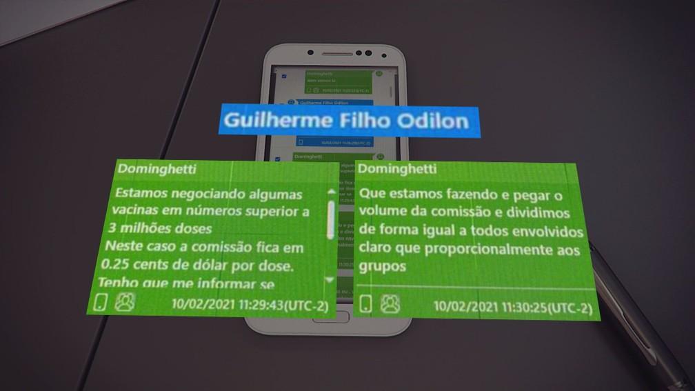 Mensagens no celular de Dominguetti mostram negociação de doses com comissão — Foto: Reprodução/Fantástico