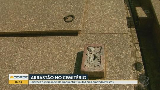 Ladrões fazem 'arrastão' e furtam 50 túmulos no cemitério de Fernando Prestes