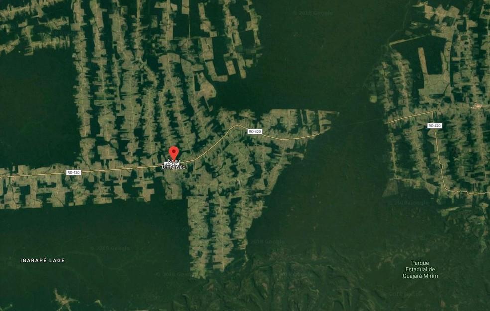 Crime ocorreu em uma linha do distrito de Nova Dimensão (Foto: Google Maps/Reprodução)
