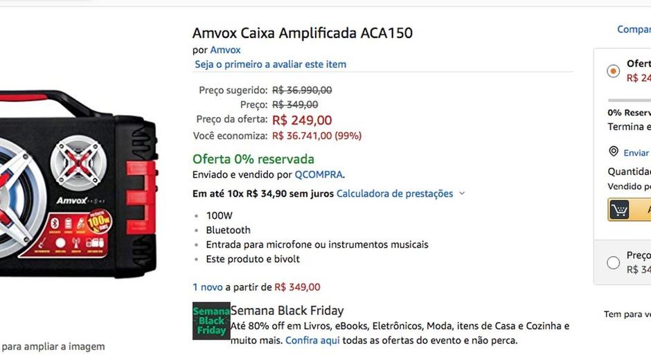 """Promoção """"para inglês ver"""": caixa de som diminui em R$ 36 mil durante a Black Friday (Foto: Reprodução)"""