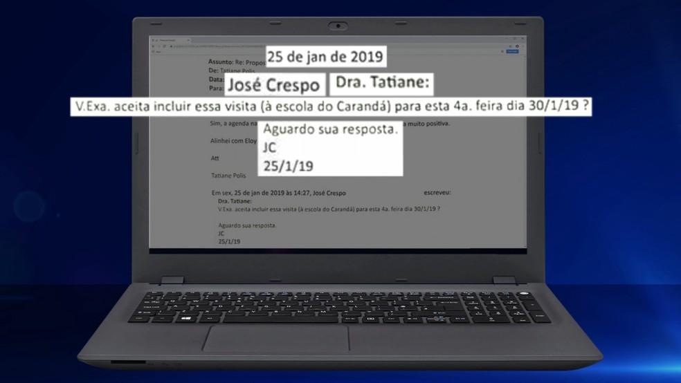 E-mails mostram atrito entre o então secretário de Comunicação, Eloy de Oliveira, e a então 'voluntária' Tatiane Polis — Foto: Reprodução/TV TEM