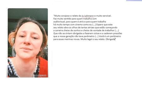 A atriz Paula Braun publicou vídeo elogiando a coragem de Juliana Lohmann Reprodução