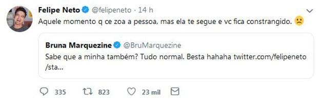 Post de Felipe Neto e resposta de Bruna Marquezine (Foto: Reprodução/Twitter)