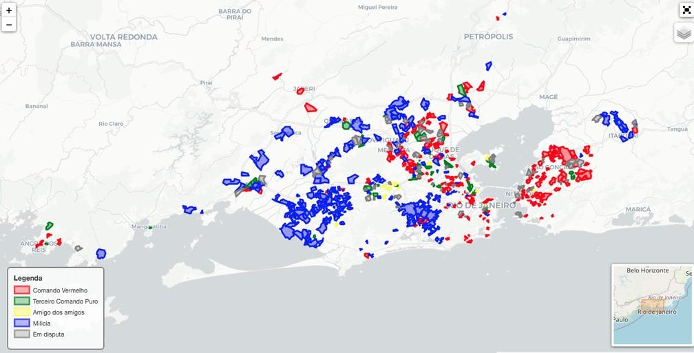 Mapa detalha controle de grupos armados no Rio de Janeiro — Foto: Disque-Denúncia (Elaboração Fogo Cruzado, GENI-UFF, NEV-USP, Pista News)