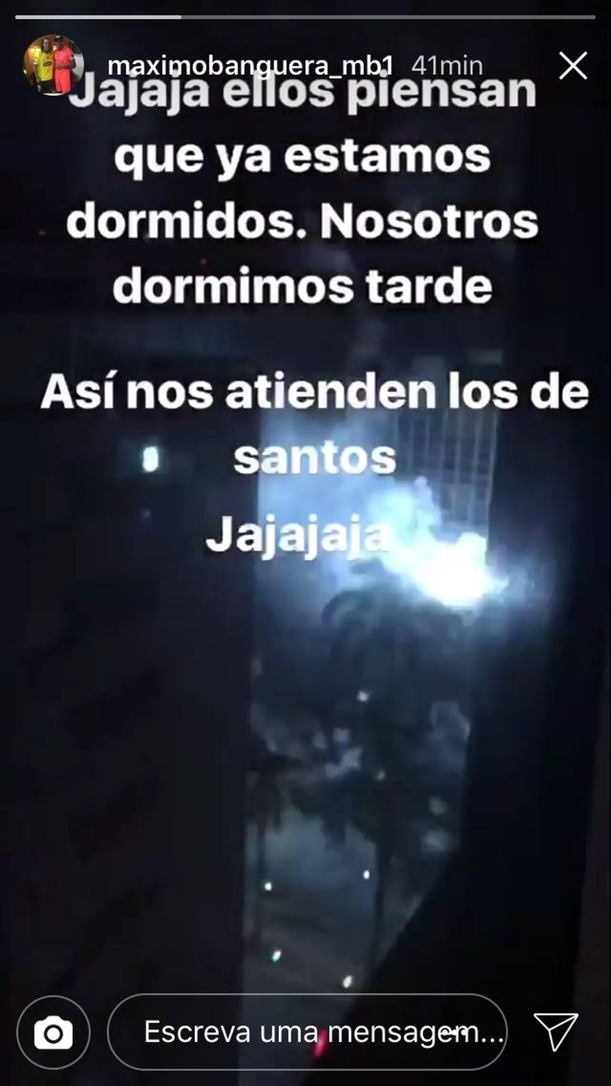 Goleiro do Barcelona de Guayaquil posta vídeo de foguetório em hotel de Santos