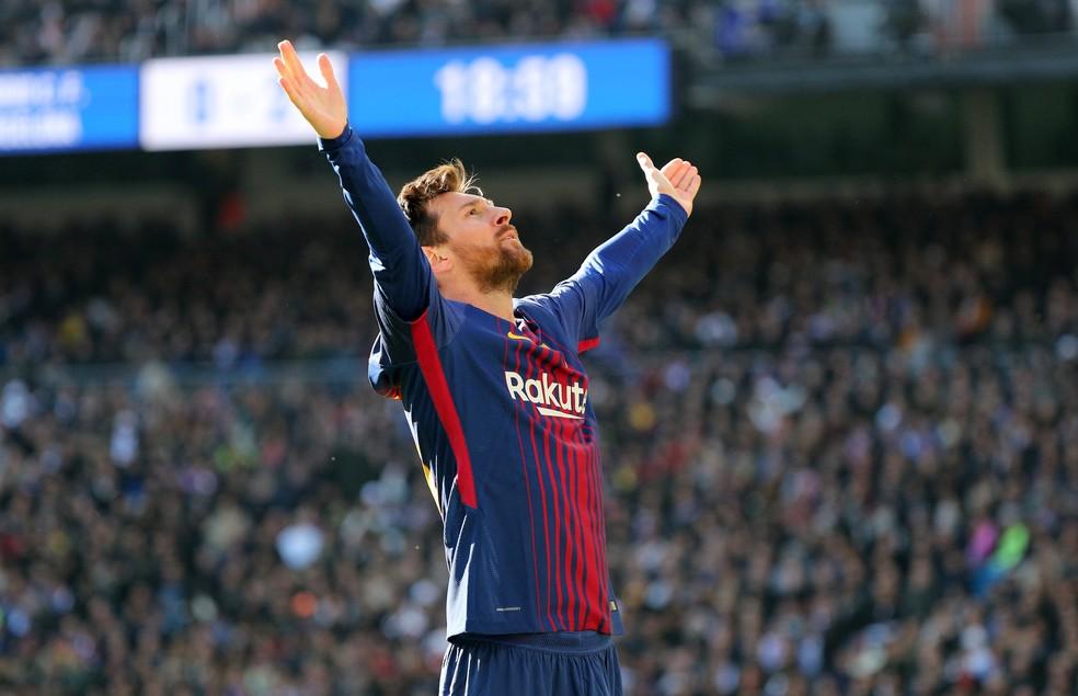 Messi comemora o segundo gol do Barcelona na vitória por 3 a 0 (Foto: REUTERS/Sergio Perez)