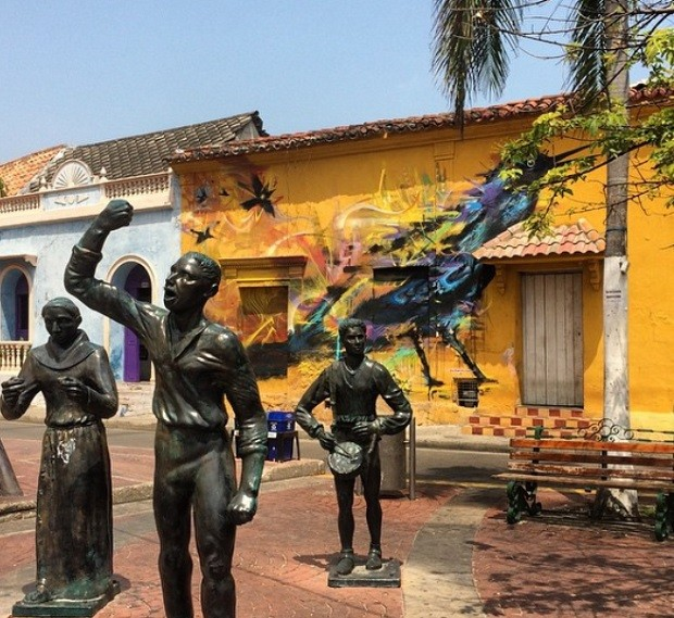 Getsemani, bairro que fica logo após a muralha da cidade antiga de Cartagena (Foto: Reprodução/Instagram)