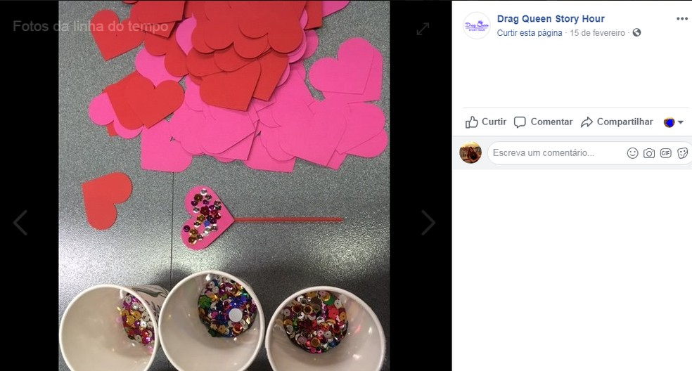 Varinha com lantejoulas é feita durante oficina do projeto. — Foto: Reprodução/Facebook