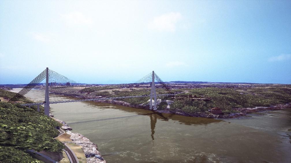 Imagem mostra o projeto da segunda ponte que irá ligar o Brasil com o Paraguai — Foto: Divulgação/Itaipu