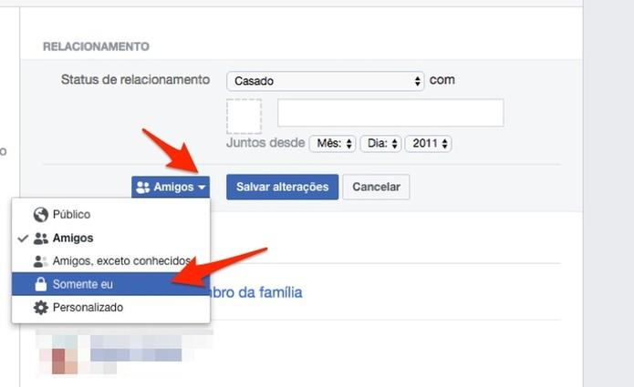 Ação para alterar a privacidade do status de privacidade para relacionamentos de um perfil do Facebook (Foto: Reprodução/Marvin Costa)