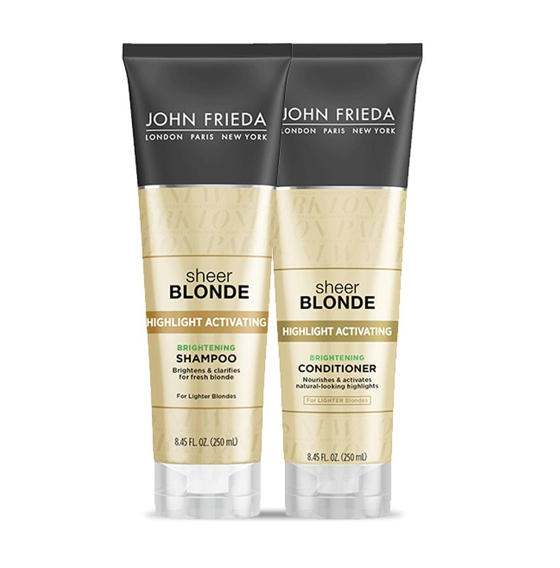 Kit Shampoo e Condicionador Sheer Blonde Highlight Activating Brightening para loiro claro, John Frieda, R$ 184,99 (Foto: Divulgação)
