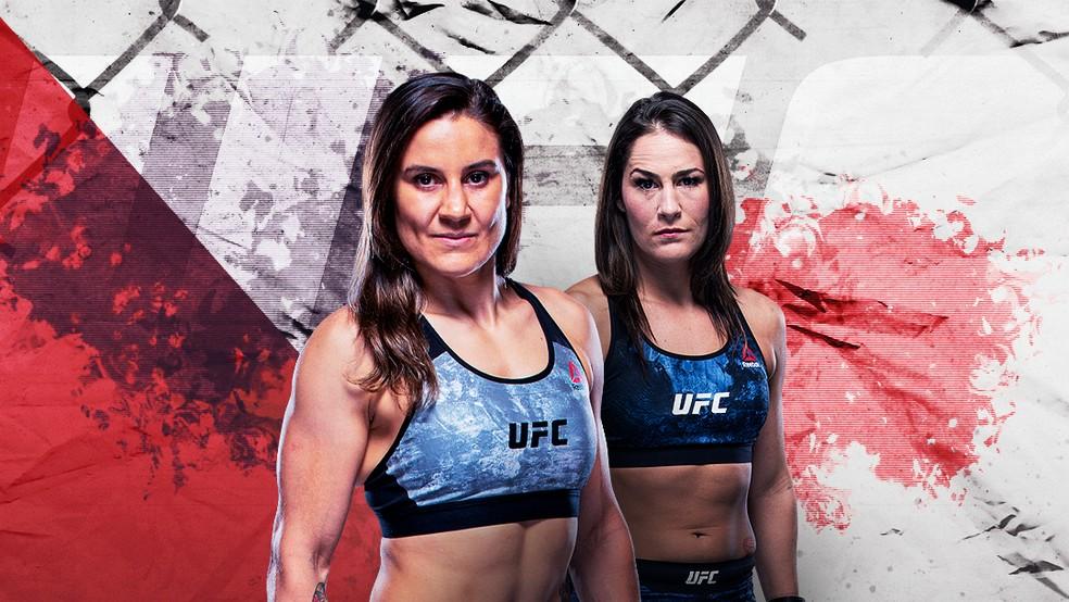 Ex-desafiantes ao cinturão peso-mosca, Jennifer Maia e Jessica Eye se enfrentam no UFC 264 — Foto: Infoesporte