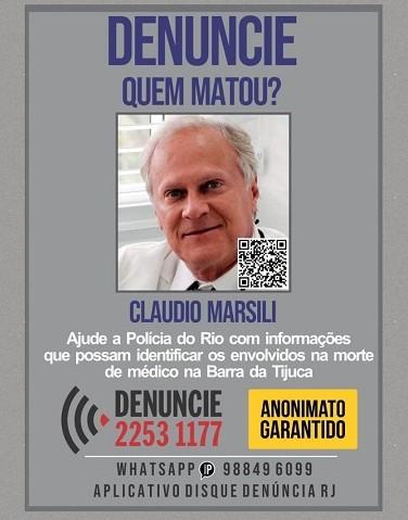 Portal dos Procurados divulga cartaz em busca de informações sobre assassinos de médico morto na Barra da Tijuca