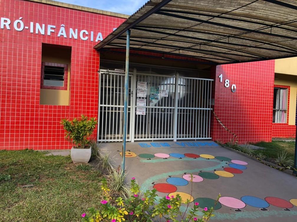 Creche em Saudades onde três crianças e duas funcionárias foram mortas  — Foto: Fernanda Moro/NSC TV
