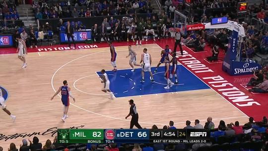 Com Giannis coadjuvante, Bucks vencem os Pistons e ficam perto de varrida; Griffin volta em revés