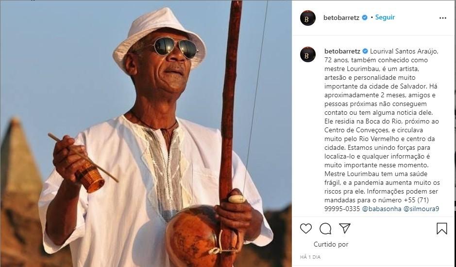 Mestre Lourimbau é encontrado em Salvador; artista passa por tratamento de saúde em hospital