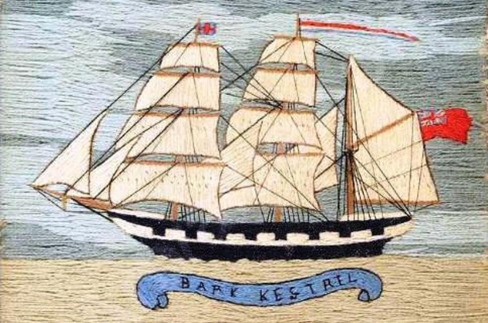 Quadro pintado em Londres revela o veleiro Kestrel, principal hipótese  (Foto: Reprodução)