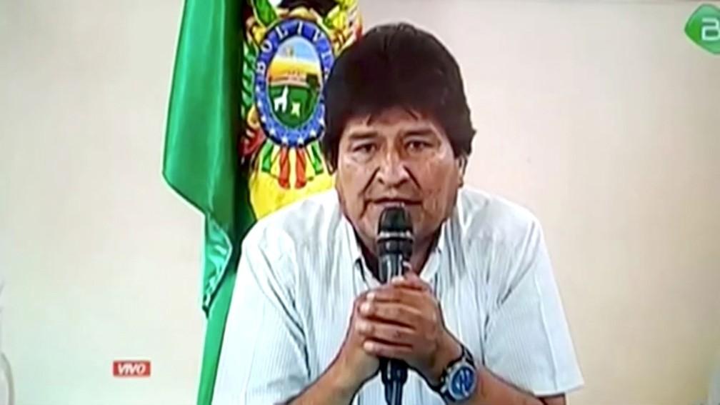 Reprodução da transmissão da renúncia de Evo Morales, em 10 de novembro de 2019 — Foto: Reprodução/TV do governo boliviano/Via Reuters