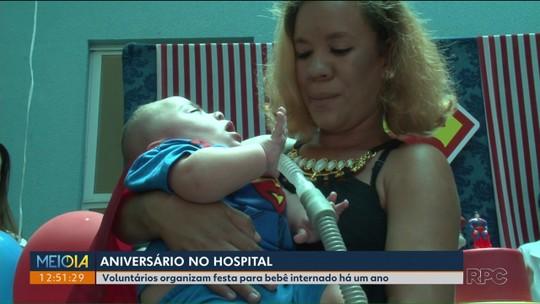 Após um ano internado na UTI, bebê ganha festa e banho de sol de presente no primeiro aniversário em Umuarama