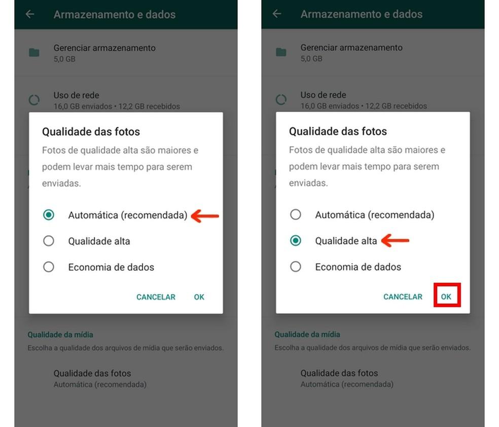 O WhatsApp permite modificar a qualidade das fotos de forma nativa — Foto: Reprodução/Raquel Freire