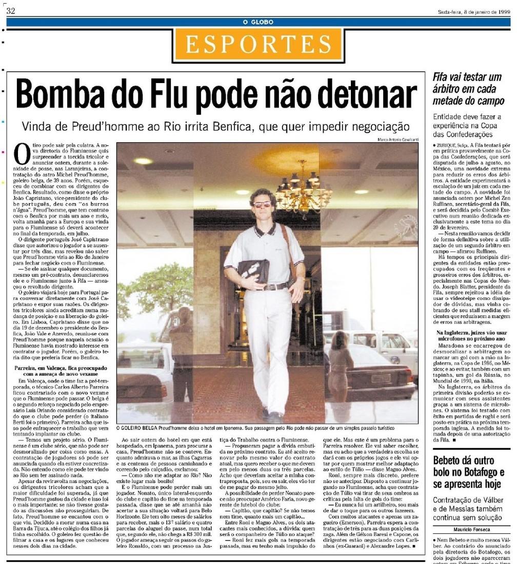 """No dia 8 de janeiro de 1999, jornal """"O Globo"""" já noticiava a reviravolta na negociação — Foto: Reprodução / O Globo"""