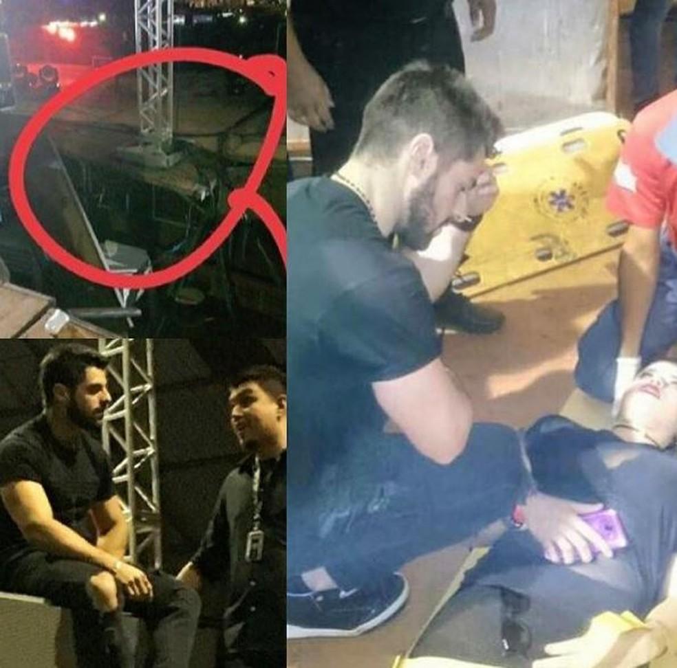 Parte da estrutura de show do DJ Alok cedeu em Presidente Prudente (Foto: Reprodução/Instagram)