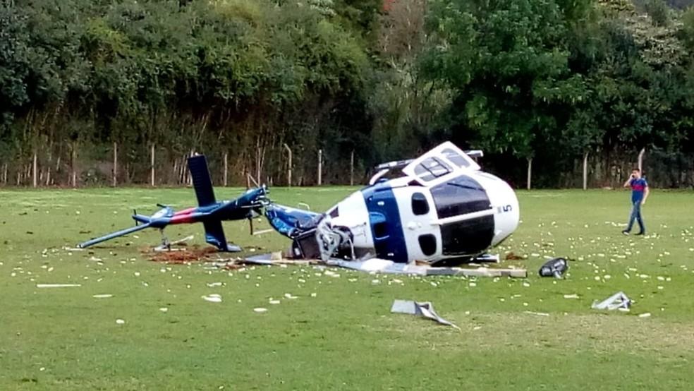 Helicóptero da PM que caiu transportava o governador Paulo Hartung (Foto: Vagner Uliana e Wilker Uliana)