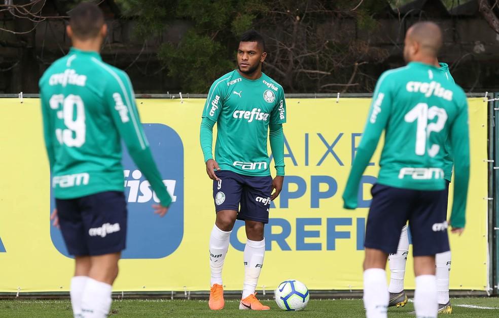 Borja em treino do Palmeiras na Academia — Foto: Cesar Greco / Ag Palmeiras