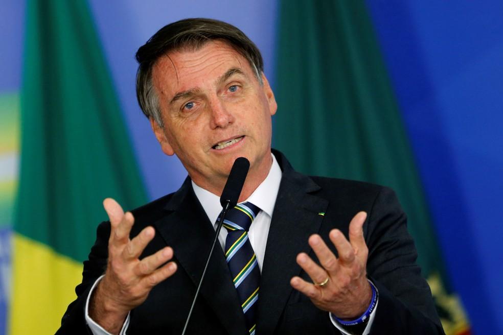 Presidente Jair Bolsonaro, durante cerimônia em Brasília na terça-feira (30) â?? Foto: Adriano Machado/Reuters