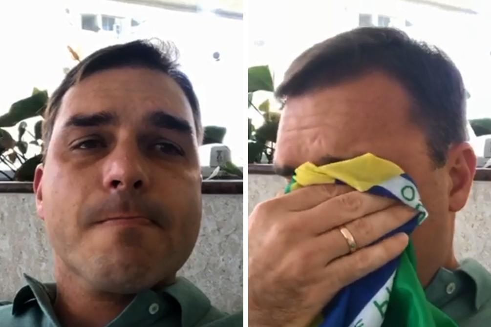 Cenas do vídeo de Flávio Bolsonaro (Foto: Reprodução/Youtube)