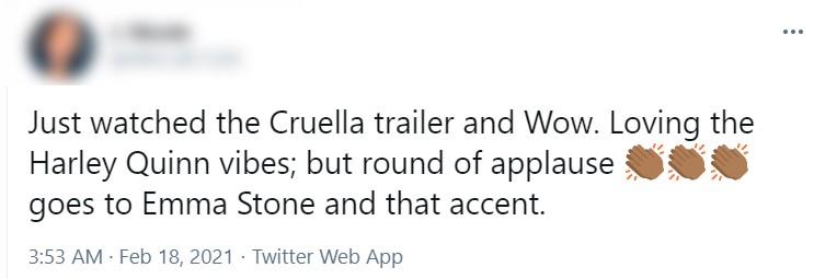 Internautas comentam sotaque de Emma Stone no trailer do filme Cruella (Foto: Reprodução / Twitter)