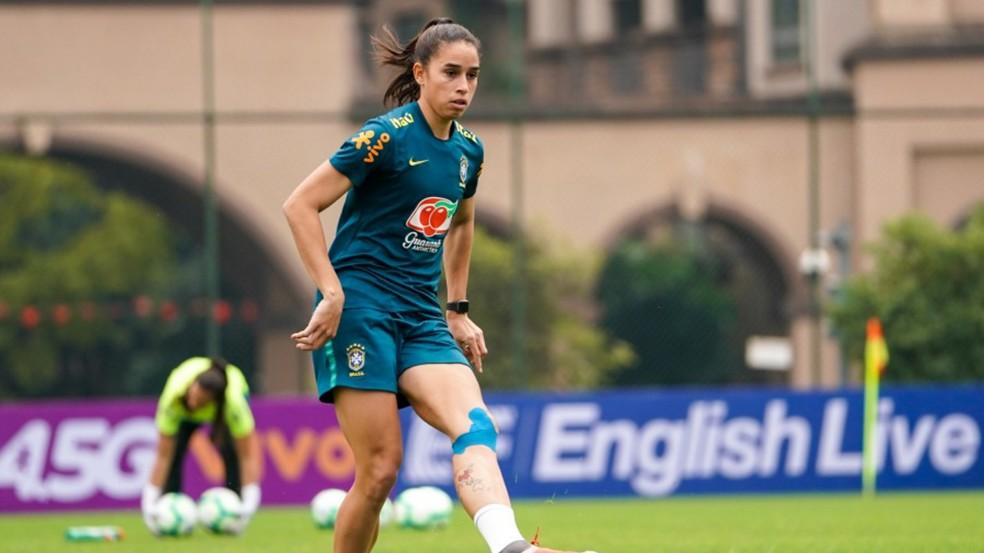 Rafaelle durante período com a Seleção — Foto: Daniela Porcelli/CBF
