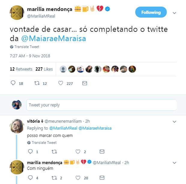 Publicação de Marília Mendonça (Foto: Reprodução/Twitter)