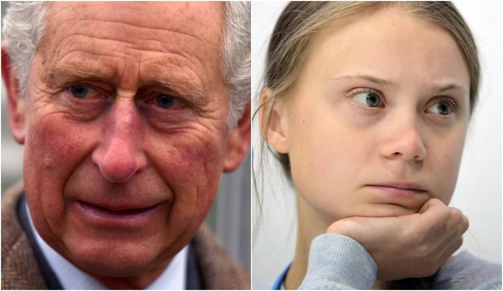 Príncipe Charles do Reino Unido e Greta Thunberg em montagem — Foto: AP-AFP/g1
