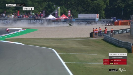 Valentino Rossi sofre queda feia no GP da Holanda da MotoGP