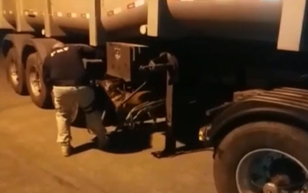 Cães farejadores ajudaram policiais a encontrar mais de 100 quilos de cocaína em fundo falso de caminhão — Foto: Divulgação