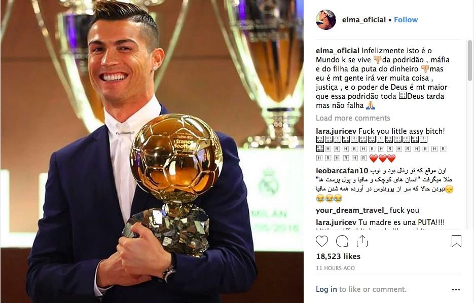 O post de Elma Aveiro lamentando a derrota do irmão Cristiano Ronaldo no prêmio Bola de Ouro 2018 (Foto: Instagram)