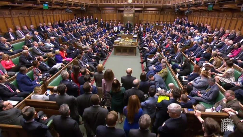 Parlamentares britânicos se reúnem para votação de acordo do Brexit nessa sexta-feira (29) — Foto: PRU/AFP