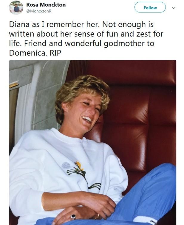Amiga de princesa Diana posta homenagem para ela (Foto: Reprodução / Twitter)