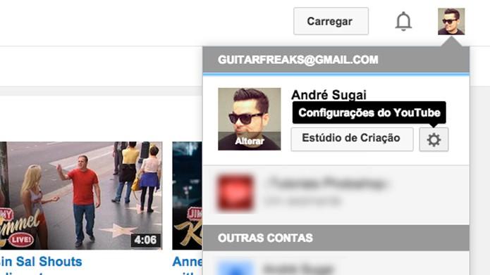 Clique nas Configurações do YouTube(Foto: Reprodução/André Sugai)