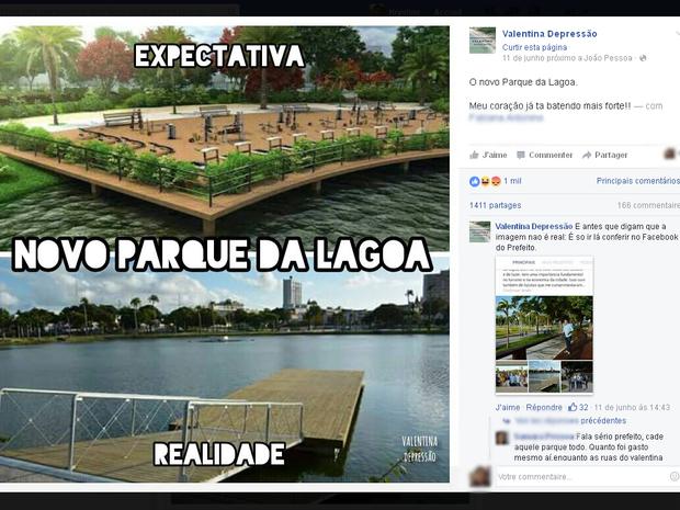 Post criticando a obra da Lagoa foi compartilhado mais de 1.400 vezes (Foto: Reprodução/Valentina Depressão)