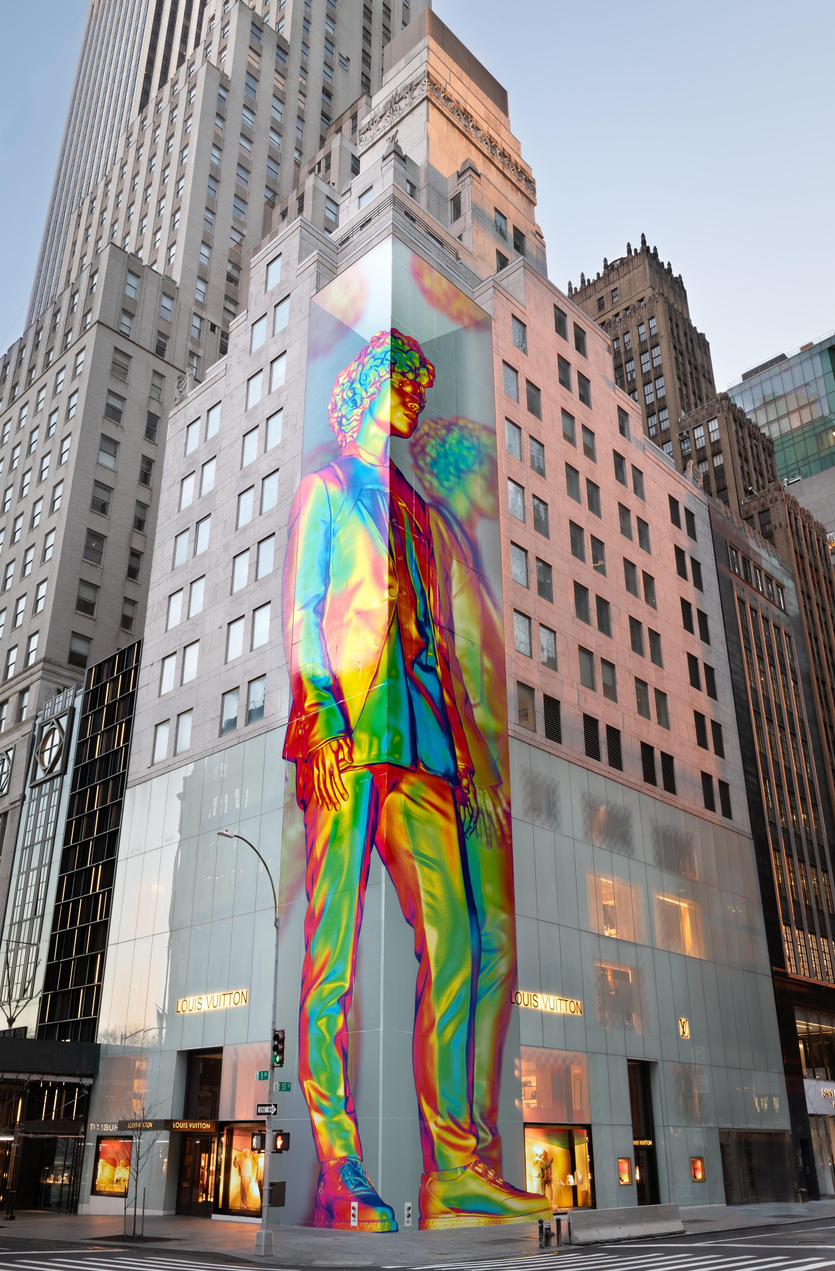 A instalação da Louis Vuitton em homenagem a Virgil Abloh na Quinta Avenida, em Nova York (Foto: Louis Vuitton / Ricky Zehavi )