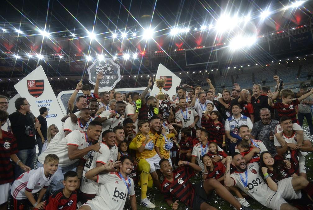 Flamengo comemora o título do Campeonato Carioca em 2019 — Foto: André Durão