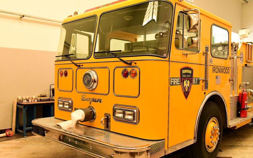 Caminhão de bombeiro importado pelo empresário Júlio Ometto, de Santa Bárbara d´Oeste — Foto: Luciano Calafiori/G1