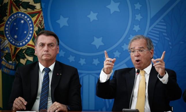 O presidente Jair Bolsonaro e o ministro Paulo Guedes