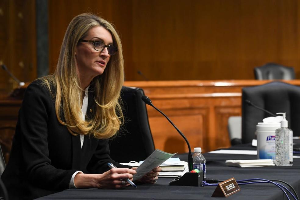 Senadora Kelly Loeffler é uma das donas do Atlanta Dream — Foto: Toni L. Sandys-Pool/Getty Images