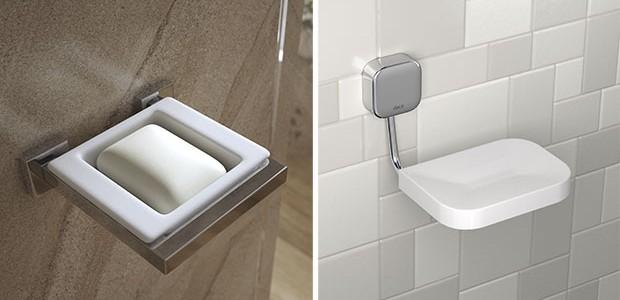 Acessórios como papeleiras e porta-toalhas devem ter dimensão igual ou maior que os existentes para que seja possível utilizar as mesmas furações. Na foto, suporte com saboneteira de resina e saboneteira de parede Pix  (Foto: Divulgação Deca)